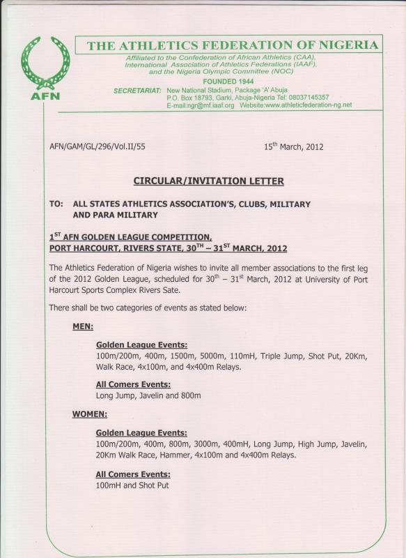 Invite for 1st AFN Golden League Meeting in Port-Harcourt - March 30-31, 2012